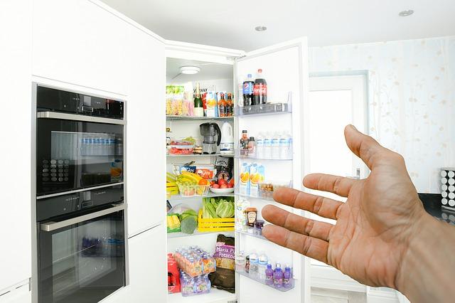 ruka před lednicí